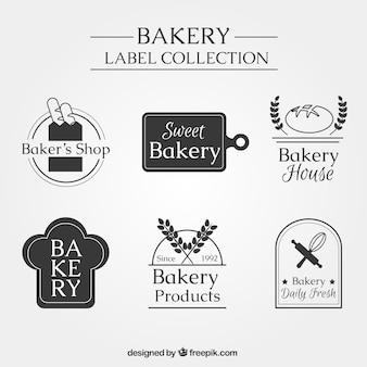 Pacote de etiquetas elegantes da padaria do vintage