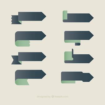 Pacote de fitas em forma de seta no design plano