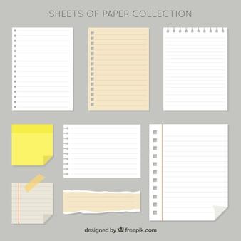 Pacote de folhas de papel e pós-it