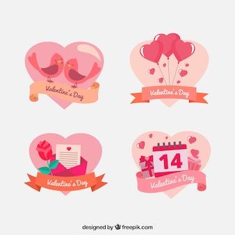 Pacote de forma bonito do coração Valentim adesivos