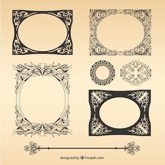 Pacote de frames do vintage do vetor