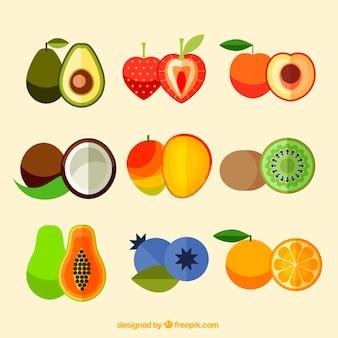 Pacote de frutas saborosas em design plano