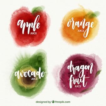 Pacote de frutas saborosas em estilo aquarela