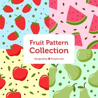 Pacote de grandes padrões de fruta plana