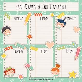 Pacote de horário escolar com folhas de notas