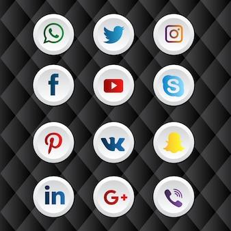 Pacote de ícones de mídia social arredondado