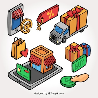 Pacote de itens de compras on-line isométricos desenhados à mão