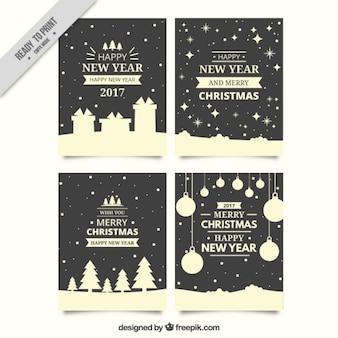 Pacote de lindos cartões de Natal no estilo retro