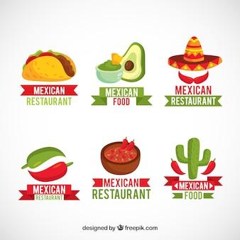 Pacote de logotipos com comida mexicana
