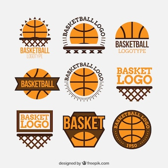 Pacote de logotipos de basquete de design plano