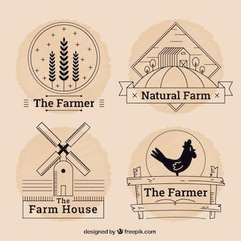Pacote de logotipos de fazenda com esboço
