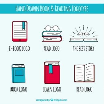 Pacote de logotipos livro mão desenhada