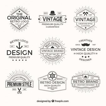 Pacote de logotipos no estilo retro