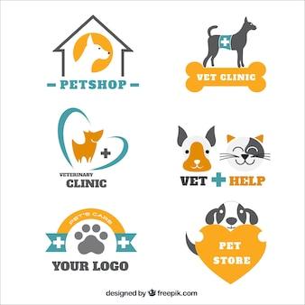 Pacote de logotipos veterinários e pet shop