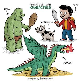 Pacote de mão desenhada aventura personagens de videogame