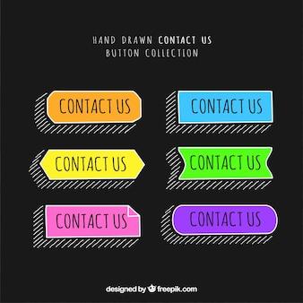 Pacote de mão desenhada botões de contato coloridas