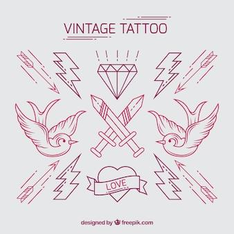 Pacote de mão desenhada tatuagens do vintage