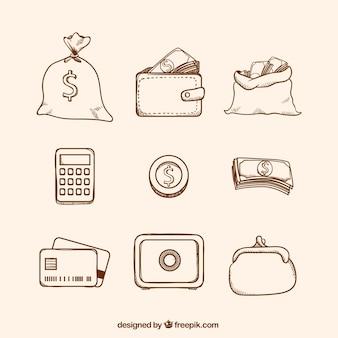Pacote de moedas e outros itens de dinheiro
