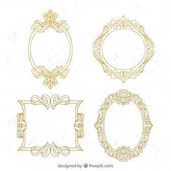 Pacote de molduras ornamentais douradas