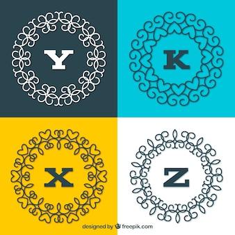 Pacote de monogramas circulares