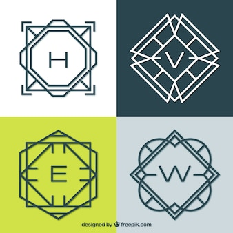 Pacote de monogramas com linhas