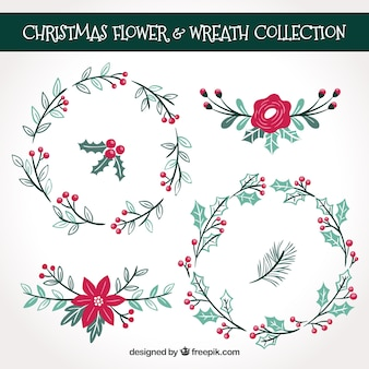 Pacote de Natal de coroas florais