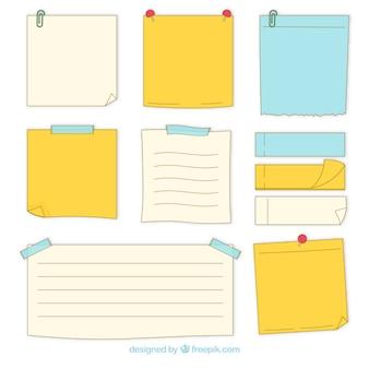 Pacote de notas pegajosas desenhadas a mão