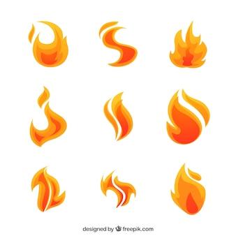 Pacote de nove chamas com formas abstratas