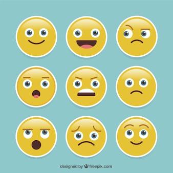 Pacote de nove emoji expressivos adesivos