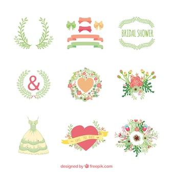 Pacote de ornamentos de noiva em design plano