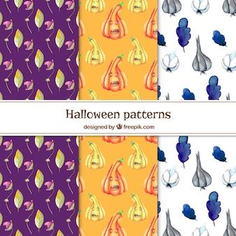 Pacote de padrões aquarela de Halloween