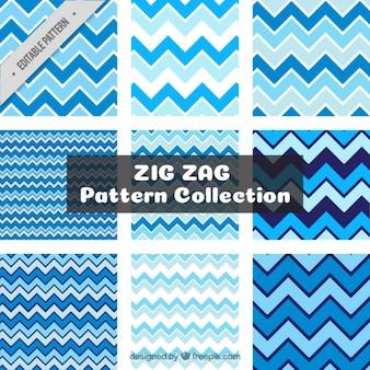 Pacote de padrões azuis zig-zag