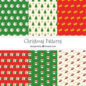 Pacote de padrões coloridos com elementos de natal