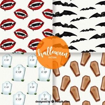 Pacote de padrões com elementos da aguarela de Halloween