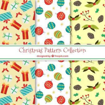 Pacote de padrões com elementos de natal