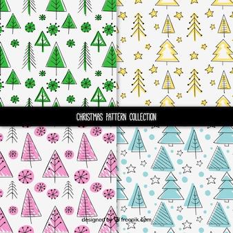 Pacote de padrões de natal com árvores