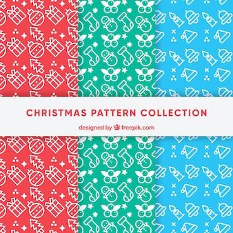 Pacote de padrões de natal com desenhos