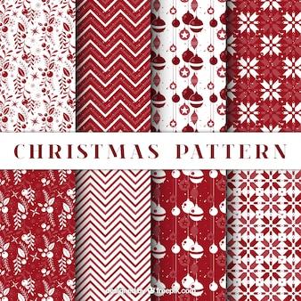 Pacote de padrões de natal decorativos na cor vermelha
