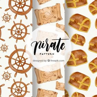 Pacote de padrões de pirata aquarela