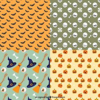 Pacote de padrões decorativos com elementos de Halloween
