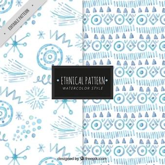 Pacote de padrões decorativos com formas abstratas de aquarela