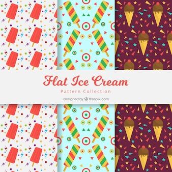 Pacote de padrões decorativos com sorvete