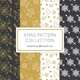 Pacote de padrões elegantes com desenhos de natal