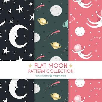 Pacote de padrões lua bonitas e planetas