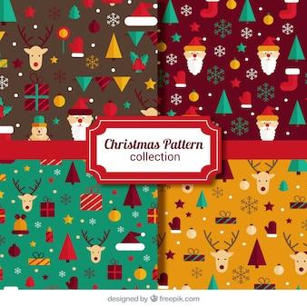 Pacote de padrões ornamentais com belos elementos do Natal