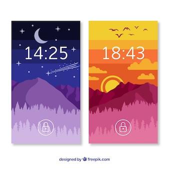 Pacote de papéis de parede de paisagem colorida para celular