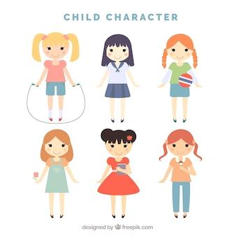 Pacote de pequenos personagens adoráveis meninas