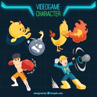 Pacote de personagens de jogos de vídeo agradável