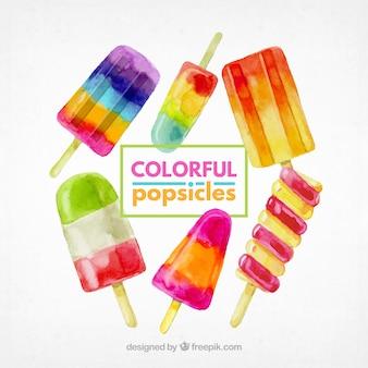 Pacote de popsicles coloridos em estilo aquarela