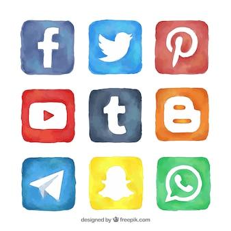 Pacote de quadrados da aguarela com logos de mídia social
